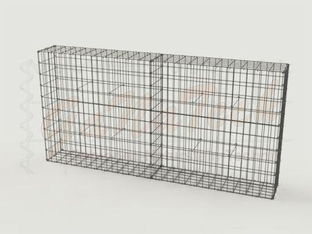 Gabionenzaun 200x25x100cm, Draht Ø 4,5mm, Einzelkorb, mit Trennwand