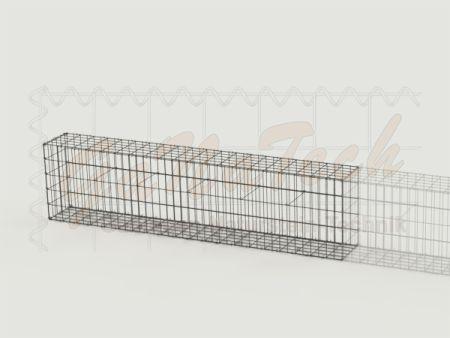 Gabionenzaun 200x25x50cm, Draht Ø 4,5mm, Erweiterung, ohne Trennwand