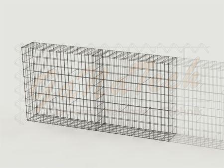 Gabionenzaun 200x25x100cm, Draht Ø 4,5mm, Erweiterung, mit Trennwand