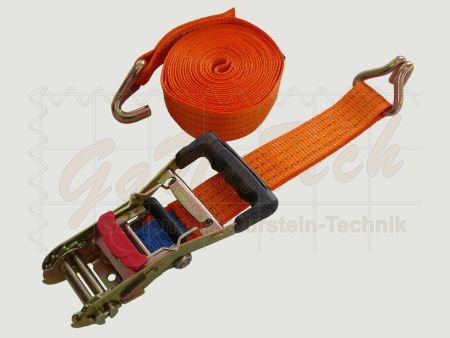 Zurrgurt 50mm, 6m, LC2000daN, STF 320daN, Spitzhaken, orange, mit Bandklammer