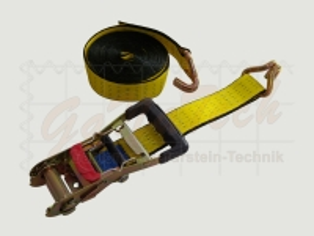 LongLife Zurrgurt 50mm, 6m, LC2500daN, STF 300daN, Spitzhaken, gelb, mit Bandklammer