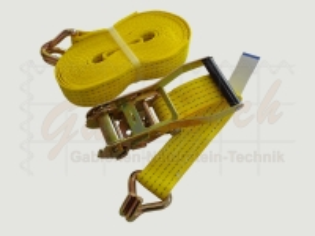 Zurrgurt 50mm, 8m, LC2500daN, STF 300daN, Spitzhaken, gelb