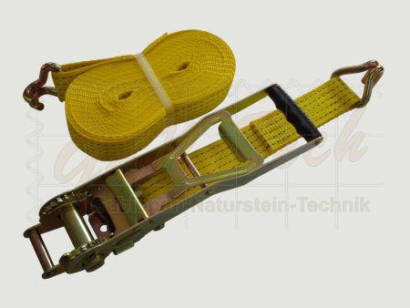 Zurrgurt mit Langhebelzugratsche, 50mm, 8m, LC2500daN, STF 500daN, Spitzhaken, gelb