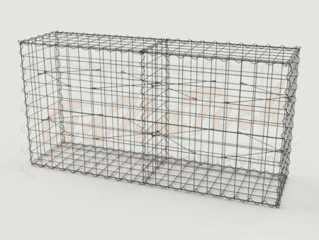 Gabione 200 x 50 x 100cm, Draht Ø 4,5mm, Maschenweite 10/10cm, mit Trennwand