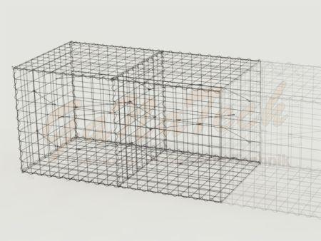 Gabione Erweiterungskorb 200cm lang, 100cm tief, 100cm hoch, mit Trennwand