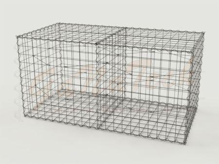 Gabione 200 x 100 x 100cm, Draht Ø 4,5mm, Maschenweite 10/10cm, mit Trennwand