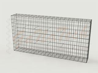 Gabionenzaun 200x25x100cm, Draht Ø 4,5mm, Einzelkorb, ohne Trennwand