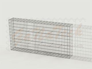 Gabionenzaun 200x25x100cm, Draht Ø 4,5mm, Erweiterung, ohne Trennwand