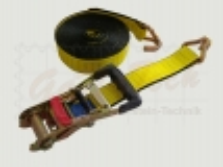 LongLife Zurrgurt 50mm, 8m, LC2500daN, STF 300daN, Spitzhaken, gelb, mit Bandklammer