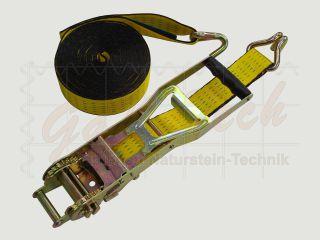 LongLife Zurrgurt mit Langhebelzugratsche, 50mm, 8m, LC2500daN, STF 500daN, Spitzhaken, gelb