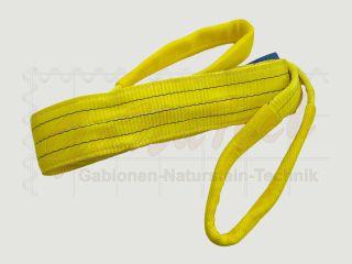 Hebegurt WLL 3000daN (3to.), 400cm Länge, gelb, 2-lagig