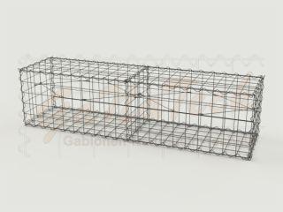 Gabione Basiskorb 200cm lang, 50cm tief, 50cm hoch, mit Trennwand