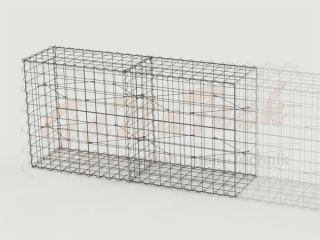 Gabione Erweiterungskorb 200cm lang, 50cm tief, 100cm hoch, mit Trennwand